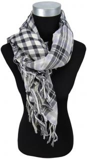 Halstuch in grau schwarz weiss kariert mit Fransen - Größe 90 x 90 cm