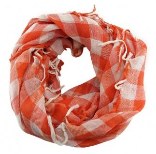 Halstuch in orange weiß kariert mit Fransen - Tuch Größe 100 x 100 cm