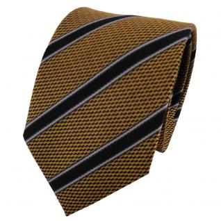 TigerTie Seidenkrawatte braun ocker anthrazit schwarz gestreift - Krawatte Seide