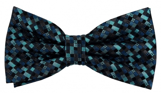 Designer Seidenfliege türkis blau anthrazit schwarz gemustert - Fliege Seide