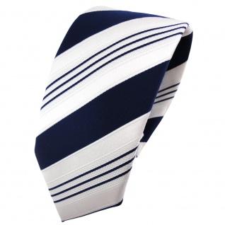 schmale TigerTie Satin Krawatte blau dunkelblau weiß silber gestreift - Binder