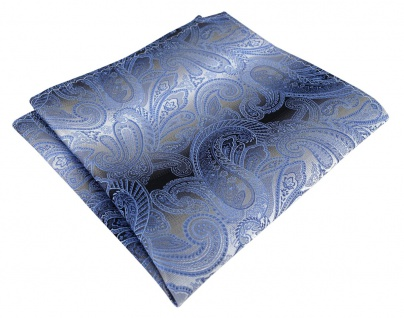 TigerTie Seideneinstecktuch in blau anthrazit grau silber Paisley gemustert