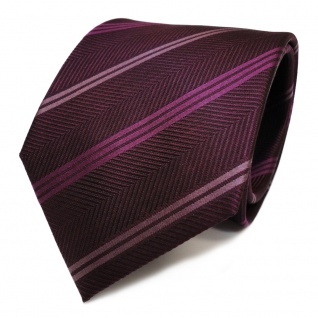 feine Seidenkrawatte in lila magenta gestreift Krawatte Tie 100% pure Seide Silk