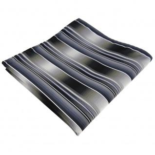 TigerTie Einstecktuch grau silber anthrazit hellgrau gestreift - Tuch Polyester
