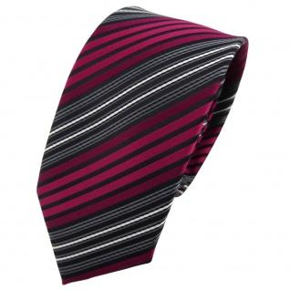 Schmale TigerTie Krawatte rot bordeaux anthrazit schwarz gestreift - Binder Tie