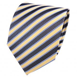 Designer Seidenkrawatte gelb blassgelb anthrazit blau weiß gestreift - Krawatte