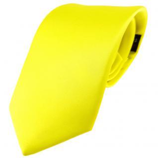 TigerTie Satin Seidenkrawatte gelb zitronengelb einfarbig - Krawatte 100% Seide