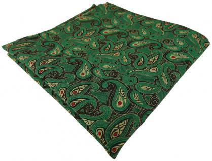 TigerTie Einstecktuch in grün gold rot schwarz Paisley gemustert - Stecktuch