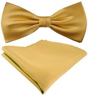 Seidenfliege + TigerTie Satin Einstecktuch Uni gold hellgold - 100% reine Seide