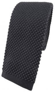 hochwertige TigerTie Strickkrawatte in anthrazit einfarbig Uni - Krawatte
