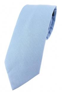 TigerTie Krawatte hellblau Unicolor einfarbig - Breite 7, 5 cm - 100% Baumwolle