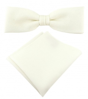 schmale TigerTie Fliege Pique in creme uni gemustert + Einstecktuch + Box