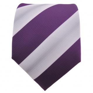 Designer Krawatte lila violett grau gestreift - Schlips Binder Tie - Vorschau 2