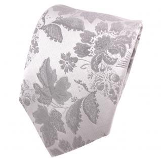TigerTie Designer Seidenkrawatte silber grau hellgrau gemustert - Krawatte Seide