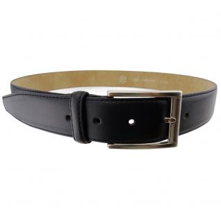 Hochwertiger Herren Ledergürtel schwarz bombiert - Leder Gürtel Bundweite 105 cm