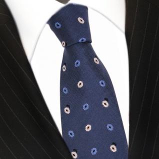 Feine leichte Seidenkrawatte blau dunkelblau gold geblümt - Krawatte 100% Seide