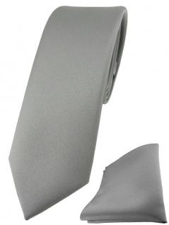 schmale TigerTie Designer Krawatte + Einstecktuch in grau einfarbig uni