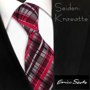 Enrico Sarto hochwertige Seidenkrawatte rot bordeaux silber grau schwarz kariert