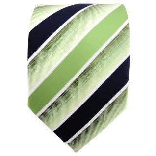 TigerTie Designer Krawatte grün hellgrün dunkelblau weiß gestreift - Binder Tie - Vorschau 2