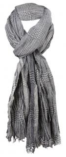 gecrashter Schal in grau creme schwarz kariert mit Fransen - Gr. 180 x 55 cm