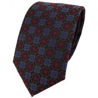 TigerTie Designer Krawatte in weinrot anthrazit schwarz blau gemustert - Binder