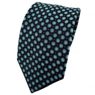 Enrico Sarto Seidenkrawatte türkis anthrazit schwarz gepunktet - Krawatte Seide