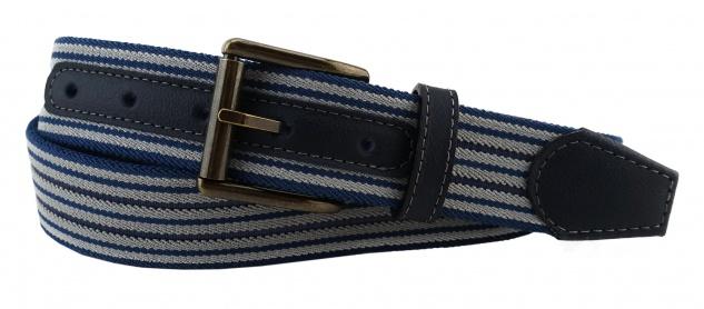 TigerTie - Stretchgürtel blau graublau grau gestreift - Bundweite 90 cm