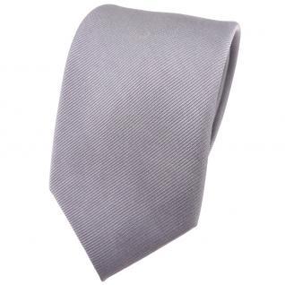 Seidenkrawatte silber Uni Rips - Krawatte 100% Seide - Breite 7cm x 150cm Länge