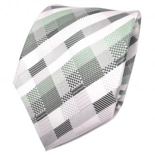 TigerTie Designer Seidenkrawatte weiß grün silber kariert - Krawatte Seide