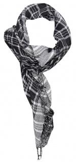 TigerTie Halstuch in silber grau schwarz kariert mit Fransen - Gr. 100 x 100 cm