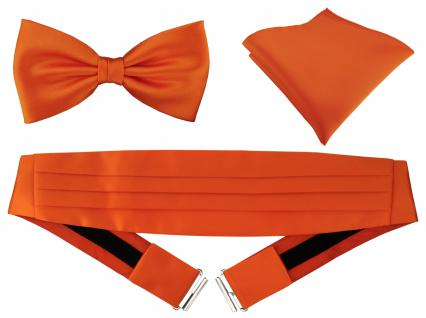 TigerTie - Kummerbund Einstecktuch Satin Fliege in orange - Schärpe Leibbinde
