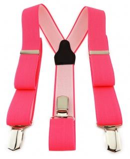 TigerTie Unisex Hosenträger mit 3 extra starken Clips- neonpink einfarbig Uni