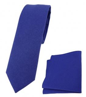 TigerTie - schmale Krawatte + Einstecktuch aus 100% Baumwolle in royal unicolor