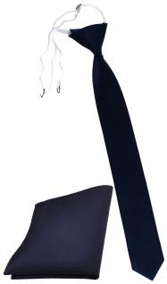 XXL TigerTie Sicherheits Krawatte + Einstecktuch blau dunkelblau marine Uni Rips