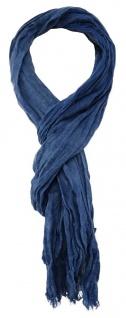 TigerTie - gecrashter Schal in blau einfarbig - Gr. 180 x 50 cm