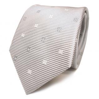 TigerTie Designer Seidenkrawatte silber grau hellgrau weiss gemustert - Krawatte