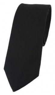 schmale TigerTie Designer Krawatte Pique in schwarz gemustert - 100% Baumwolle