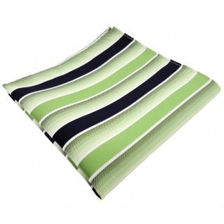 schönes Einstecktuch in grün hellgrün dunkelblau weiß gestreift - Tuch Polyester