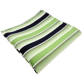 TigerTie Einstecktuch grün hellgrün dunkelblau weiß gestreift - Tuch Polyester