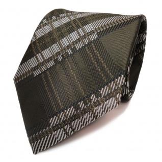 Designer Krawatte grün dunkel olivgrün flaschengrün kariert - Schlips Binder Tie