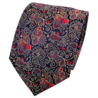 TigerTie Seidenkrawatte orange rot blau dunkelblau gemustert - Krawatte Seide
