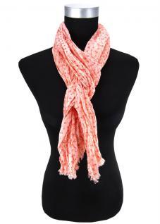 Damen Halstuch rot rosé Blumenmuster Gr. 180 cm x 50 cm - Tuch Schal Baumwolle