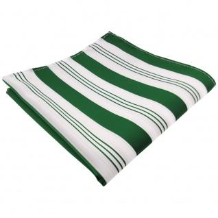 TigerTie Einstecktuch grün dunkelgrün weiß silber gestreift - Tuch Polyester