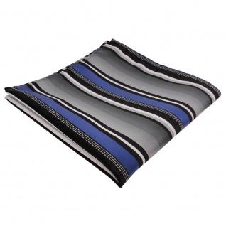 schönes TigerTie Einstecktuch in blau silber grau weiss schwarz gestreift - Vorschau