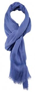 TigerTie Schal in blau einfarbig mit kleinen Fransen - Gr. 180 x 70 cm - Vorschau