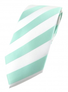 TigerTie Designer Krawatte in mint weiss gestreift