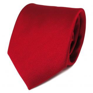 TigerTie Satin Seidenkrawatte rot feuerrot einfarbig Rips - Krawatte 100% Seide