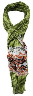 TigerTie - gecrashter Schal in grün olive grau orange schwarz gemustert