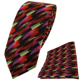 schmale TigerTie Krawatte + Einstecktuch orange rosa gold schwarz gestreift