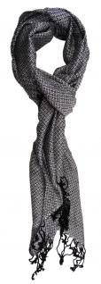 TigerTie Designer Schal in silber schwarz gemustert - Gr. 180 x 50 cm